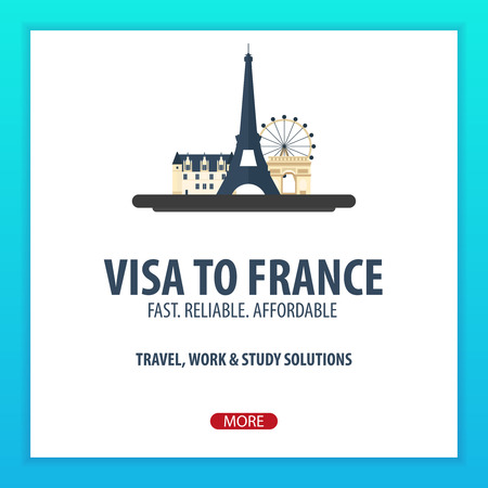 immigrate: Visa to France. Travel to France. Document for travel. Vector flat illustration Illustration