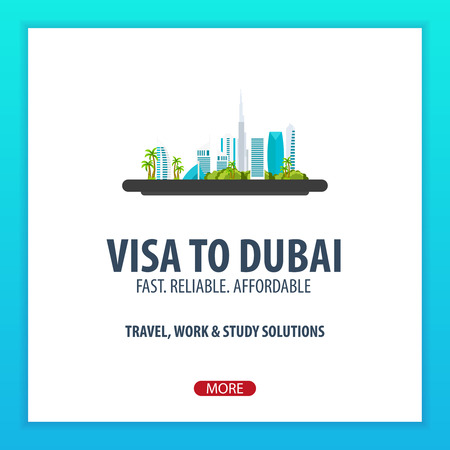 immigrate: Visa to Dubai. Travel to Dubai. Document for travel. Vector flat illustration