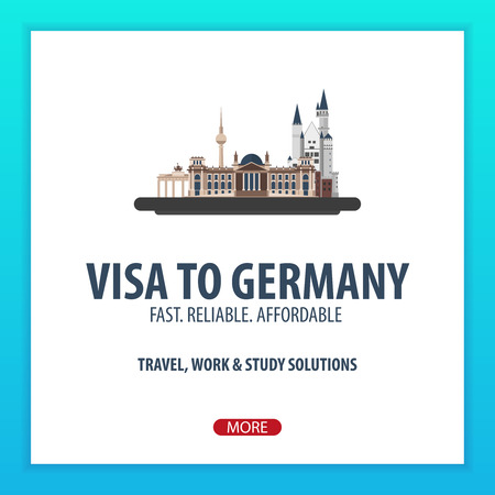 validation: Visa to Germany. Travel to Germany. Document for travel. Vector flat illustration