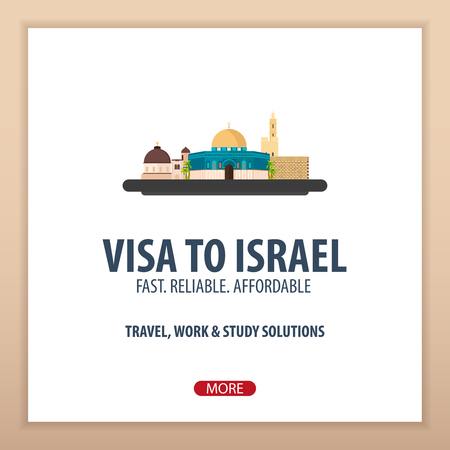 validation: Visa to Israel. Document for travel. Vector flat illustration Illustration