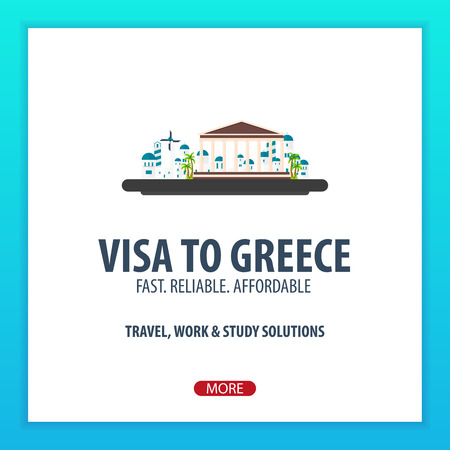 immigrate: Visa to Greece. Document for travel. Vector flat illustration Illustration
