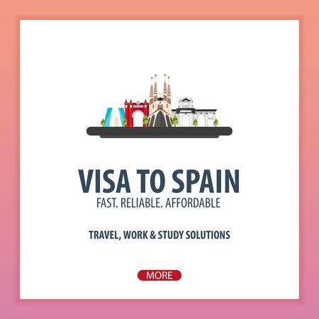 Visa to Spain. Document for travel. Vector flat illustration