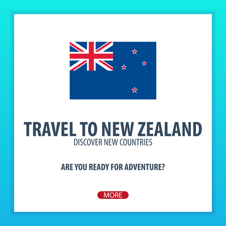 Travel to New Zealand. Discover and explore new countries. Adventure trip Illusztráció