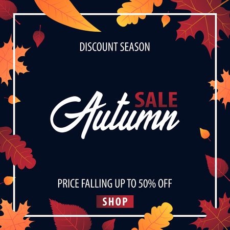 Autumn Background with leaves for shopping sale or promo poster and frame leaflet or web banner. Vector illustration template Illustration