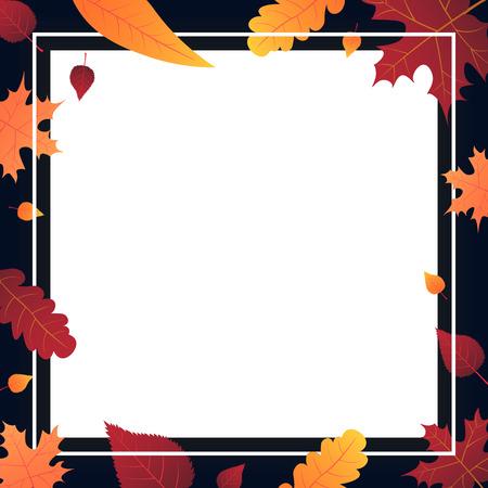 ショッピング販売やプロモーションポスターやフレームリーフレットやウェブバナーのための葉と秋の背景。ベクターイラストテンプレート  イラスト・ベクター素材