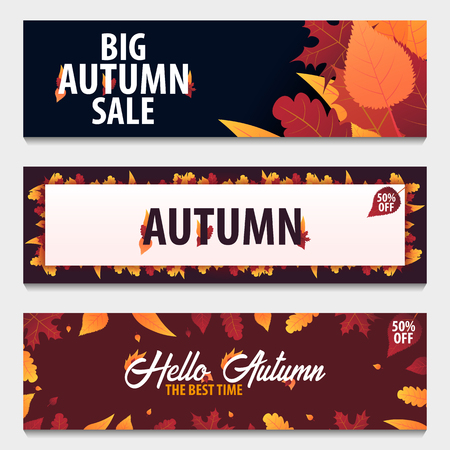 holiday shopping: Set of Autumn Background with leaves for shopping sale or promo poster and frame leaflet or web banner. Vector illustration template
