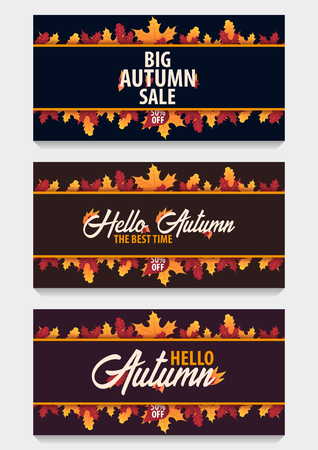 holiday shopping: Autumn Background with leaves design can be used for shopping sale or promo poster and frame leaflet or web banner. Vector illustration template Illustration