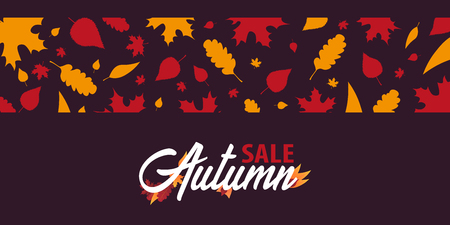 holiday shopping: Autumn Background with leaves for shopping sale or promo poster and frame leaflet or web banner. Vector illustration template Illustration