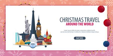 Christmas Travel Around the World. Winter travel. Vector illustration.