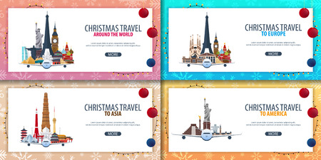 Satz Fahnen Weihnachtsreise Europa. Asien, Amerika, Welt. Winterreise. Vektor-Illustration Vektorgrafik