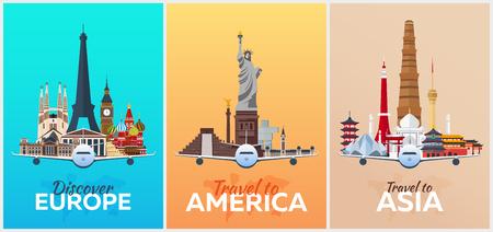 Reis posters naar Europa, Amerika, Azië. Vakantie. Reis naar het land. Reizende illustratie. Moderne vector plat Stockfoto - 86534103
