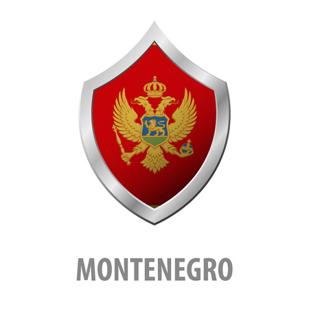 Montenegro flag on metal shiny shield vector illustration