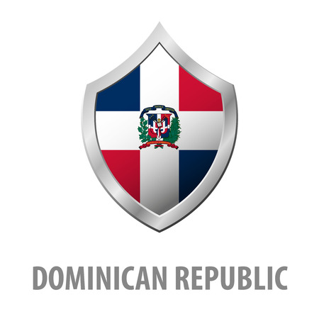 Dominican Republic flag on metal shiny shield vector illustration