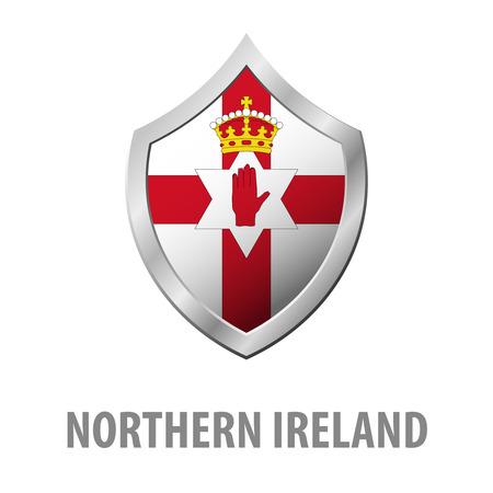 Northern Ireland flag on metal shiny shield vector illustration Illustration