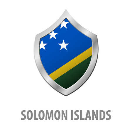 Solomon Islands flag on metal shiny shield vector illustration