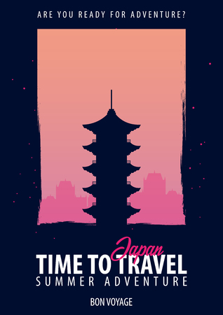 Japan. Time to Travel. Journey, trip, vacation Your adventure Bon Voyage Illustration