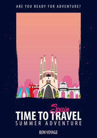 黒い背景にスペインへ旅行する時間.