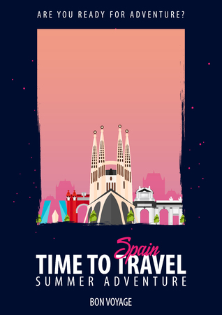 Time to travel to Spain on black background.. Illustration