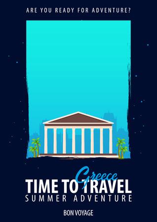 Greece, Europe. Time to Travel. Journey, trip vacation Your adventure Bon Voyage Illusztráció