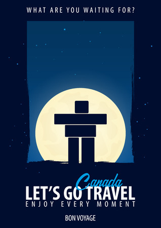 Canada. Time to Travel. Journey, trip, vacation Moon background Bon Voyage Illustration