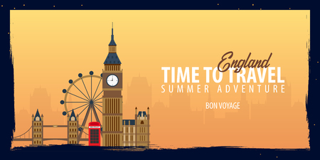 Time to Travel to Egypt banner for trip and vacation vector illustration.