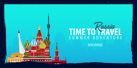 Russia banner. Time to Travel. Journey, trip and vacation. Vector flat illustration Illustration