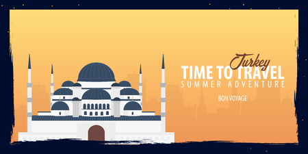 Turkey banner. Time to Travel. Journey, trip and vacation. Vector flat illustration