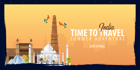 India banner. Time to Travel. Journey, trip and vacation. Vector flat illustration