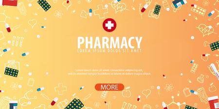 pilule: Farmacia. Antecedentes médicos Cuidado de la salud Ilustración de la medicina del vector Vectores