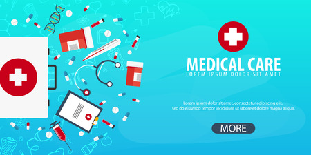 Medical care. Medical background. Health care. Vector medicine illustration Vector Illustration