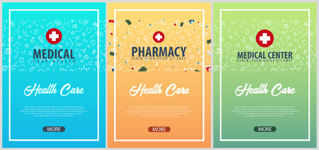 Set of Medical posters. Medical background. Health care. Vector medicine illustration