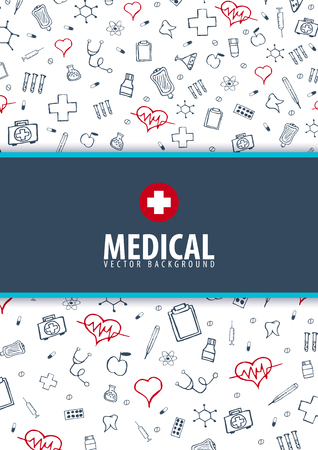 Medical Brochure Design Template. Flyer with inline medicine icons, Modern Infographic Concept for annual report. Vector Illustration