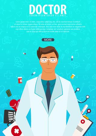 Doctor. Medical background. Health care Vector medicine illustration