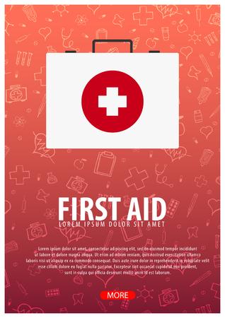 First Aid. Medical background. Health care. Vector medicine illustration Illustration