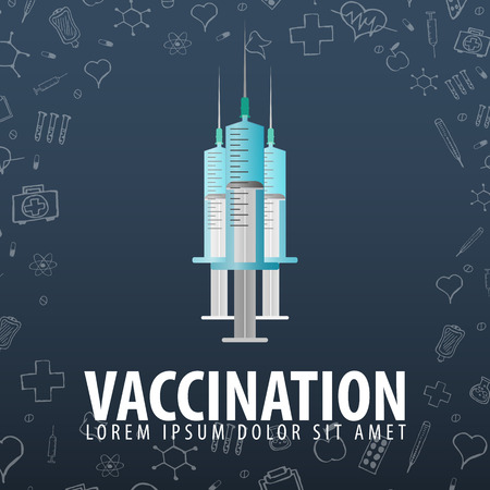 Vaccination. Medical background. Health care Vector medicine illustration