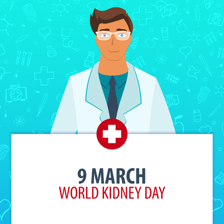 heath: 9 March. World Kidney day. Medical holiday. Vector medicine illustration Illustration