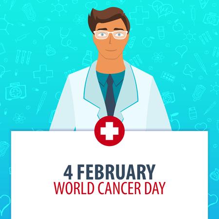 heath: Medical holiday. 4 February. World Cancer Day. Vector medicine illustration