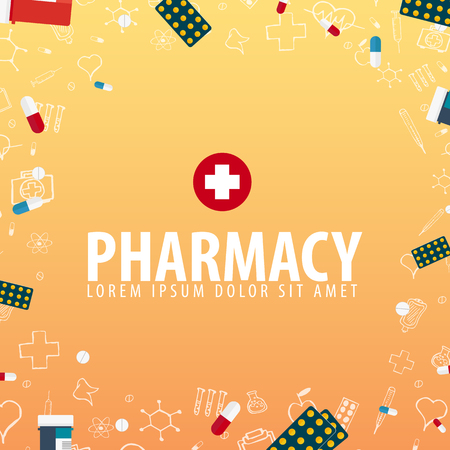 Pharmacy. Medical background. Health care Vector medicine illustration
