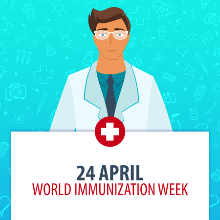 24 April. World Immunization Week. Medical holiday. Vector medicine illustration