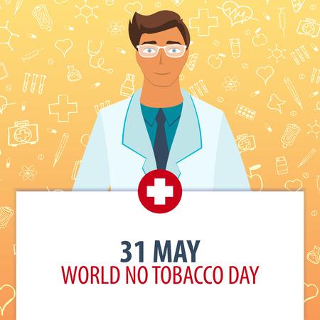 5 월 31 일. 세계 담배의 날. 의료 휴가. 벡터 의학 일러스트 레이션
