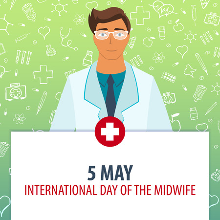 5 May. international Day of the midwife. Medical holiday. Vector medicine illustration