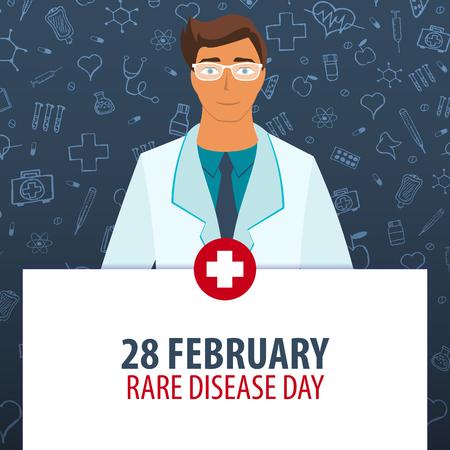 2 월 28 일. 드문 질병의 날. 의료 휴가. 벡터 의학 일러스트 레이션