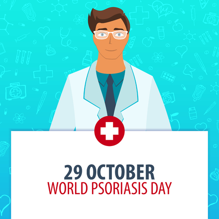 heath: 29 October. World Psoriasis Day. Medical holiday. Vector medicine illustration