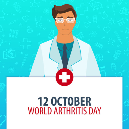 12 October. World Arthritis day. Medical holiday. Vector medicine illustration Ilustração