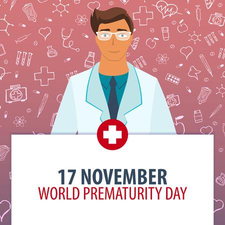 11 월 17 일. 세계 미숙 날. 의료 휴가. 벡터 의학 일러스트 레이션