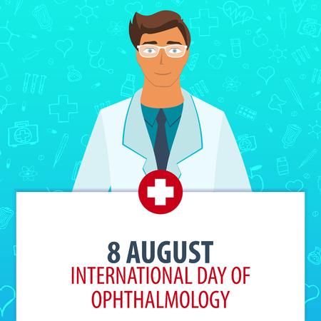 heath: 8 August. International day of ophthalmology. Medical holiday. Vector medicine illustration