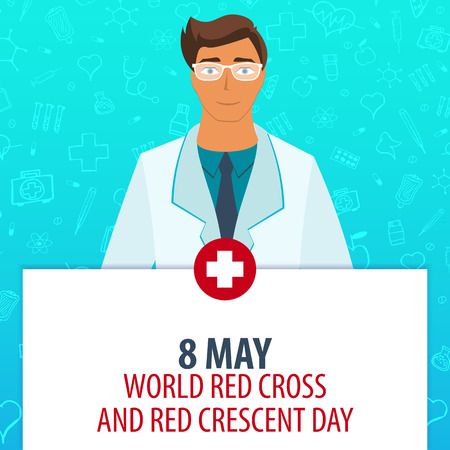 heath: 8 May. World Red Cross and Red Crescent day. Medical holiday. Vector medicine illustration Illustration