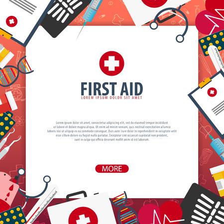First Aid. Medical banner. Health care. Vector medicine illustration Illustration