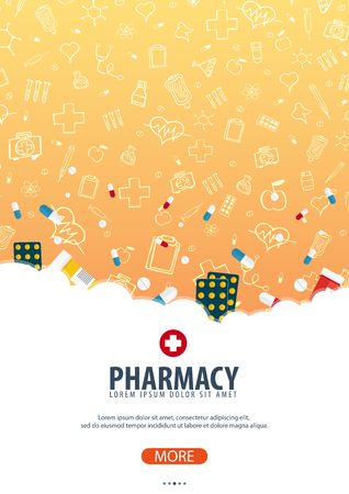 Pharmacy. Medical poster. Health care Vector medicine illustration