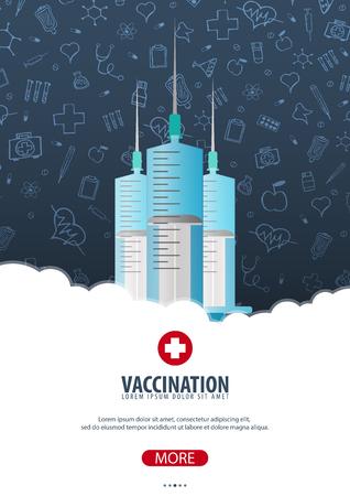 Vaccinazione. Manifesto medico Assistenza sanitaria Illustrazione di medicina vettoriale Vettoriali